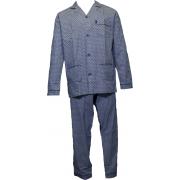 Gentlemen heren pyjama Poplin 'Dots' blauw